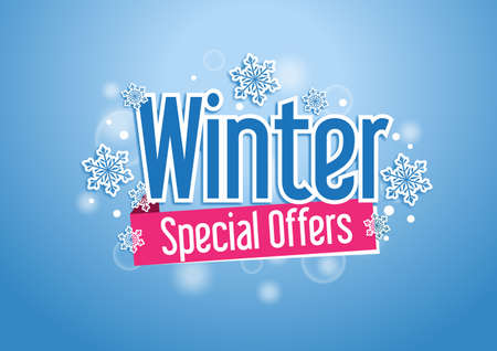 Winter Special Offers  Beautiful Background with Snow Flakes Banco de Imagens - 34579403