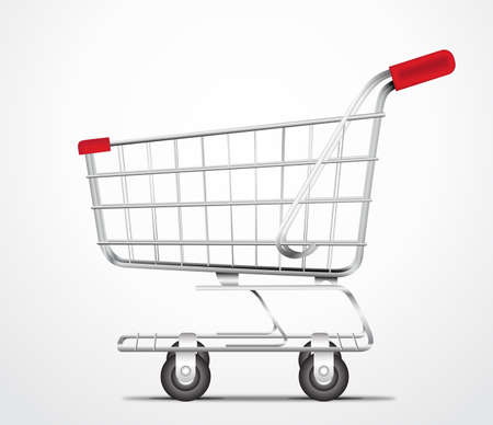 shopping cart icon: Empty Shopping Cart Trolley Vector in isolated White Background