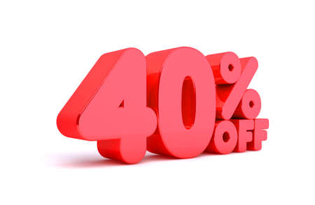 40: 40% Off 3D Render Red Word Isolated in White Background Stock Photo