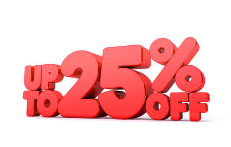 Up to 25% Off 3D Render Red Word Isolated in White Background photo