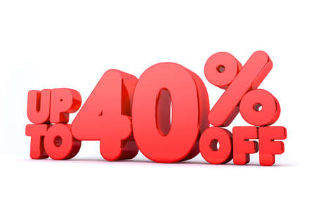 40: Up to 40% Off 3D Render Red Word Isolated in White Background
