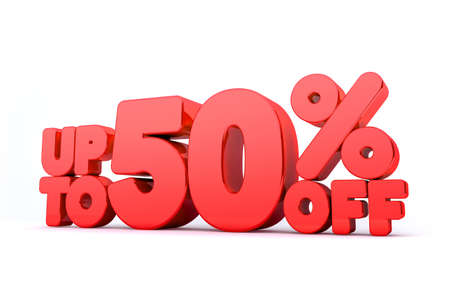 Up to 50% Off 3D Render Red Word Isolated in White Background Stock Photo