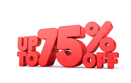 pay off: Up to 75% Off 3D Render Red Word Isolated in White Background Stock Photo