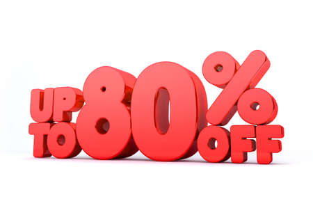 pay off: Up to 80% Off 3D Render Red Word Isolated in White Background Stock Photo