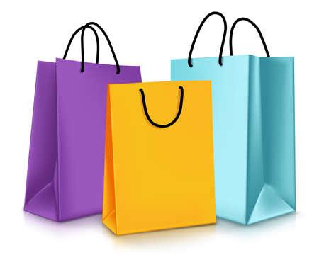 分離の空カラフルなショッピング バッグのセットです。ベクトル図