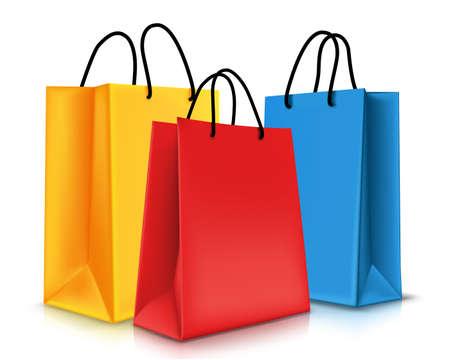 Conjunto de coloridas bolsas de la compra vacío aislado. Ilustración vectorial Foto de archivo - 35148391