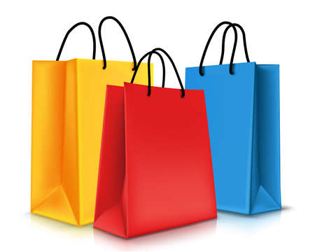 carry bag: Set of Colorful Empty Shopping Bags Isolated. Vector Illustration