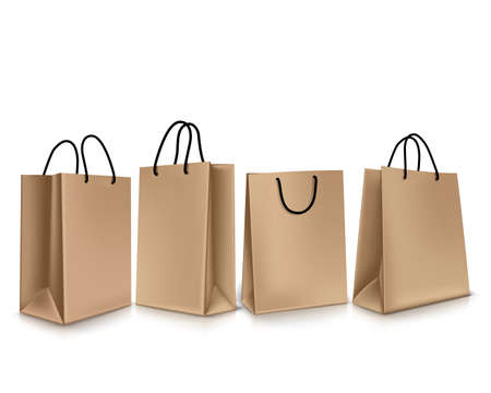 simple store: Set of Colorful Empty Shopping Bags Isolated. Vector Illustration