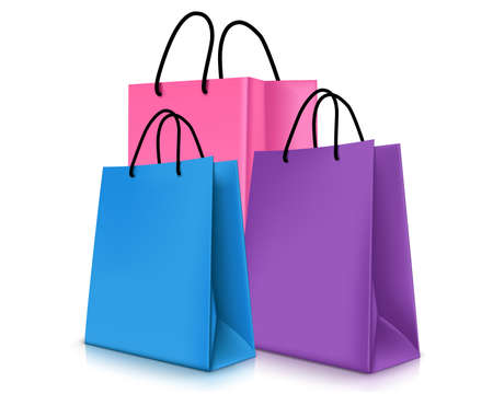 Set of Colorful Empty Shopping Bags Isolated. Vector Illustration