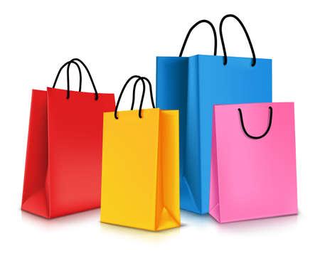 comprando: Conjunto de coloridas bolsas de la compra vac�o aislado. Ilustraci�n vectorial