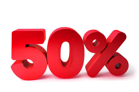 50% 3D Render Red Word Isolated in White Background photo