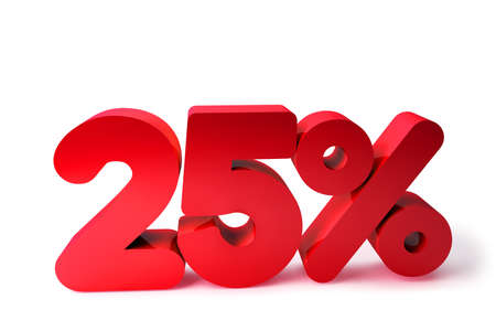 25% 3D Render Red Word Isolated in White Background photo