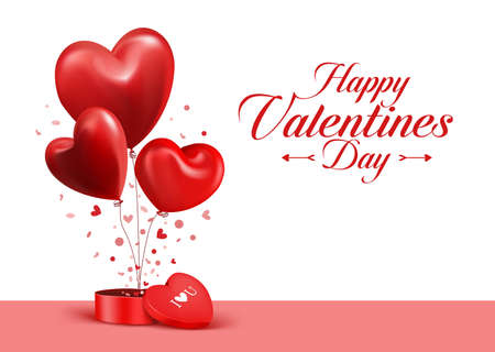 Valentines Day Red Sweet Balloon Hearts. 3D Vector Illustration