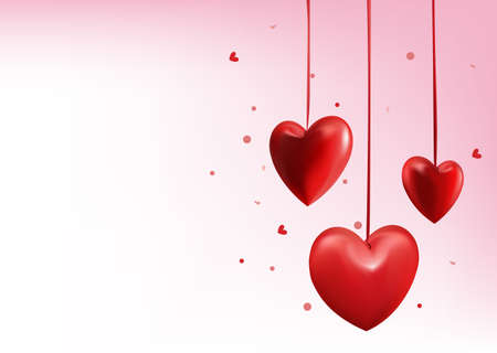 Valentines Day Red Sweet Balloon Hearts. 3D Vector Illustration Vector