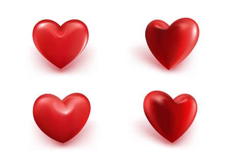 Día de San Valentín roja dulce Corazones del globo. Ilustración del vector 3D Vectores