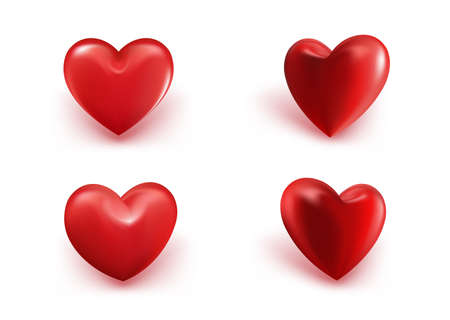 symbol decorative: Valentines Day Red Sweet Balloon Hearts. 3D Vector Illustration