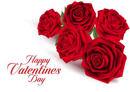 red rose petals: Valentines Day Sweet Red Roses. Mesh Vector Illustration Illustration