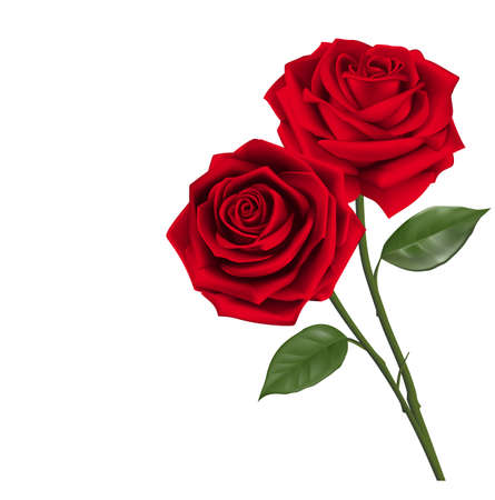 Valentines Day Sweet Red Roses. Mesh Vector Illustration Vettoriali
