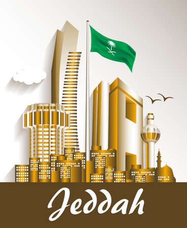 arabia: City of Jeddah Saudi Arabia Famous Buildings. Editable Vector Illustration