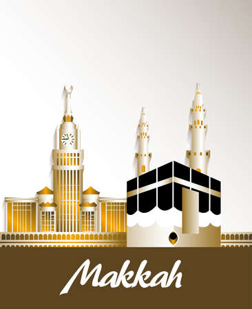 City of Makkah Saudi Arabia Famous Buildings. Editable Vector Illustration