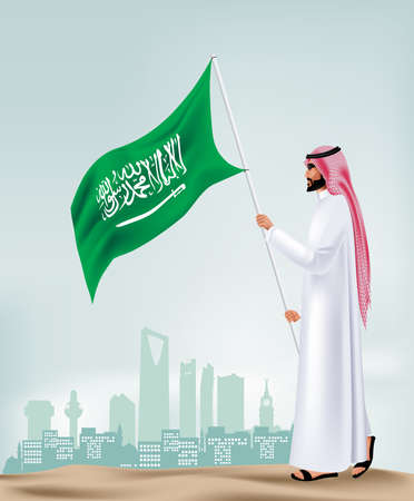 editable: Saudi Arabia Man Holding Flag in the City Vector
