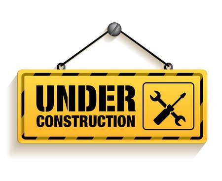 warning: Under Construction Zeichen auf weißem Hintergrund. 3D-Mesh-Vektor-Illustration