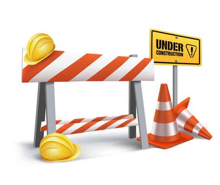 mesh: Under Construction Sign in White Background. 3D Mesh Vector illustration Illustration