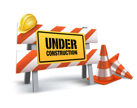 construction equipment: Under Construction Sign in White Background. 3D Mesh Vector illustration Illustration