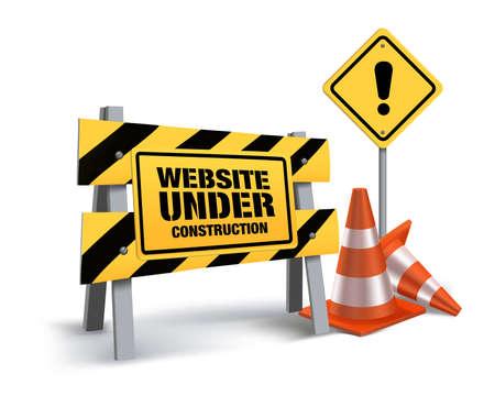 se�ales de transito: Sitio Web Bajo Muestra De La Construcci�n en el fondo blanco. Ilustraci�n vectorial 3D Mesh Vectores