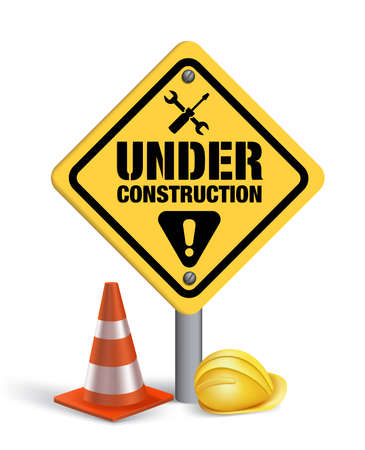 Under Construction Sign in White Background. 3D Mesh Vector illustration Ilustração