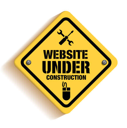 Website Under Construction Sign in White Background. 3D Mesh Vector illustration