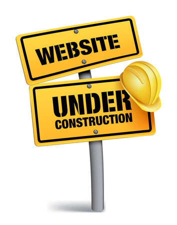 traffic barricade: Website Under Construction Sign in White Background. 3D Mesh Vector illustration