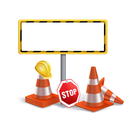 maintenance: Blank Under Construction Sign in White Background. 3D Mesh Vector illustration
