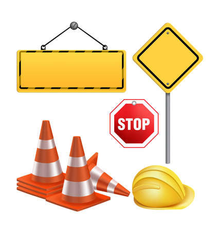 vector sign under construction: Set of Under Construction Sign in White Background. 3D Mesh Vector illustration