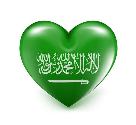 Love Saudi Arabia Hearts Flag. 3D Vector Illustration