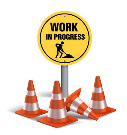 Work in progress Sign in White Background. 3D Mesh Vector illustration