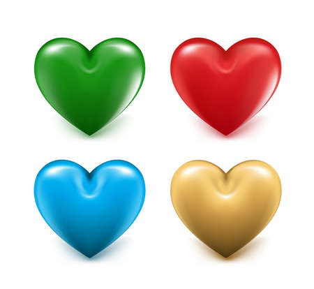 gold heart: Sets of 3D Colorful Mesh Hearts. Editable Vector Illustration