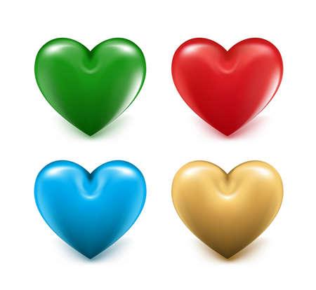 mesh: Sets of 3D Colorful Mesh Hearts. Editable Vector Illustration