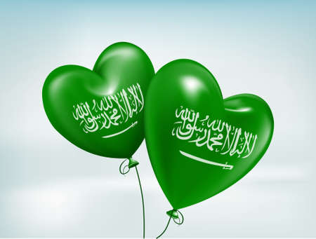 saudi: Love Saudi Arabia Hearts Balloons Flag. 3D Vector Illustration Illustration
