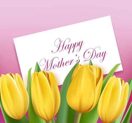 Realistic Colorful Tulips for Mothers Day. Editable Vector Illustration