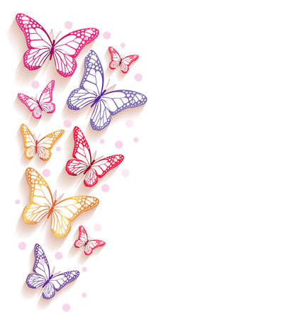butterfly background: Realistic Colorful Butterflies Isolated for Spring. Editable Vector Illustration Illustration
