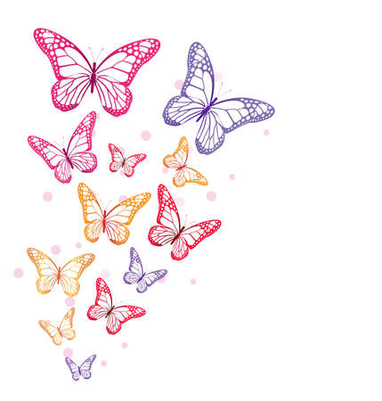 Realistic Colorful Butterflies Isolated for Spring. Editable Vector Illustration  イラスト・ベクター素材