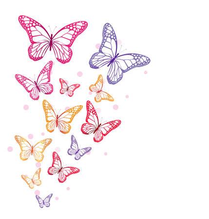 flor morada: Mariposas de colores realistas aislados para la primavera. Ilustraci�n vectorial editable