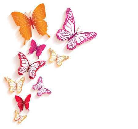 Realistische kleurrijke vlinders die voor het voorjaar. Bewerkbare vector illustratie Stock Illustratie