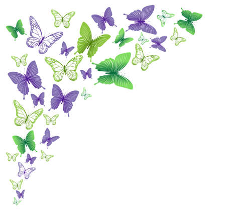 three layered: Realistic Colorful Butterflies Isolated for Spring. Editable Vector Illustration Illustration