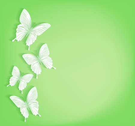 Paper Cut Butterflies Background Isolated for Spring Vector