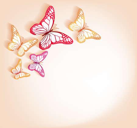 mariposas volando: Del corte de papel Mariposas fondo aislado para la primavera
