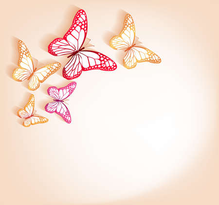 three layered: Paper Cut Butterflies Background Isolated for Spring