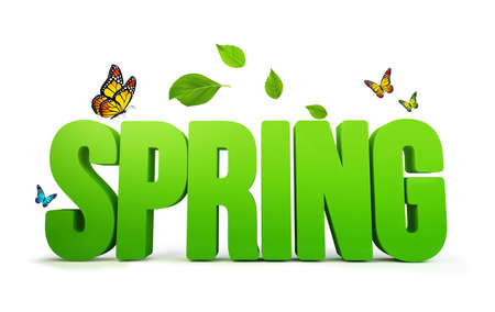 rn3d: 3D Rendered Spring Word Isolated in White Background with Clipping Paths