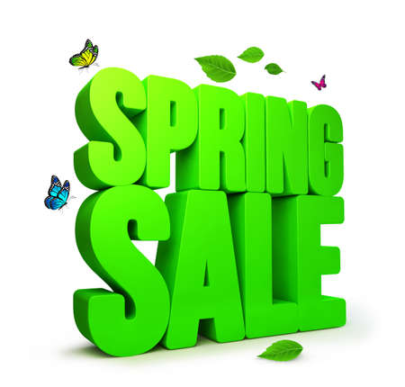 3D Rendered Spring Sale Word Isolated in White Background with Clipping Paths